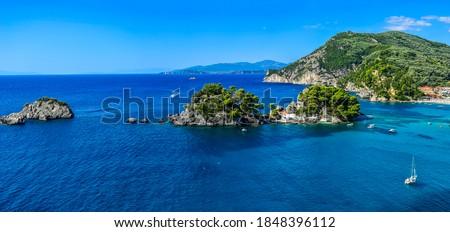 Mediterranean sea islands panoramic landscape. Rock islands in sea. Sea rock islands landscape. Islands panorama