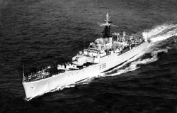 MEDITERRANEAN SEA - MARCH 3rd 1961 - HMS Whitby sailing in calm waters