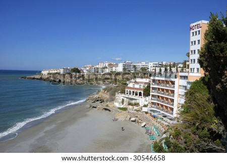 Mediterranean Sea, Nerja, (Andalusia) Spain with hotels and holiday apartments.Seen from the Balcony of Europe in Nerja.