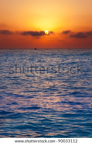 Mediterranean sea sunrise sunset with sun in orange sky
