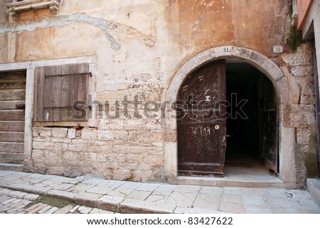 Mediterranean stone house detail in Rovinj, Croatia - stock photo