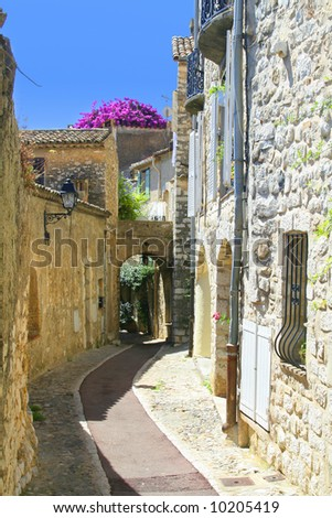 Mediterranean street in an old village from the Middle Ages in the south of France.