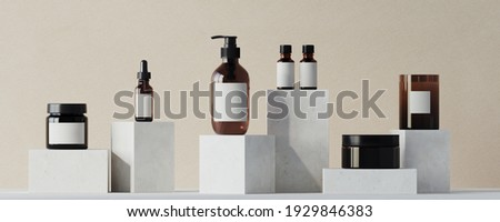 Mediterranean style mockup for product presentation. Cosmetic bottle and white terracotta podium on beige background. Clipping path of each element included. 3d rendering illustration.