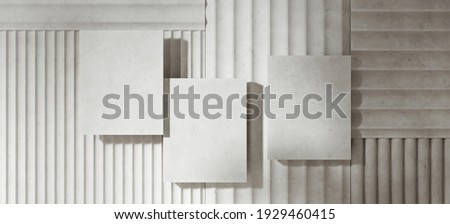 Mediterranean style mockup for product presentation. White terracotta platform on flute pattern panel. Clipping path of each element included. 3d rendering illustration.