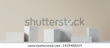 Mediterranean style mockup for product presentation. White terracotta podium on beige background. Clipping path of each element included. 3d rendering illustration.