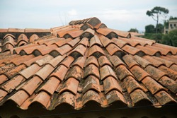 Mediterranean style roof tiles on a circular roof