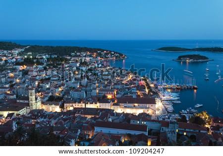Mediterranean town Hvar at night - stock photo