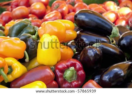 Mediterranean vegetables for sale at a market