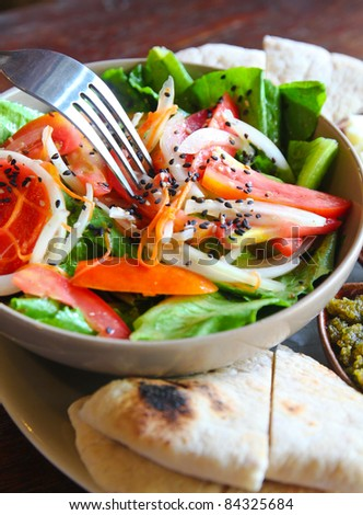mediterrenean salad with cheese and bread