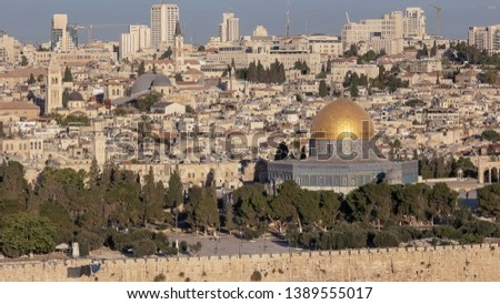 medium angle shof the dome of the rock from the mt of olives in jerusalem #1389555017