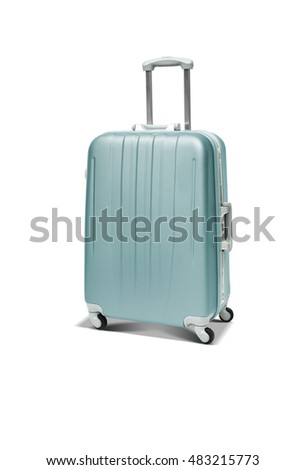 Medium blue polycarbonate suitcase isolated on white
