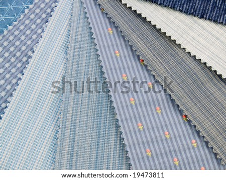 Medium blue upholstery fabric swatches