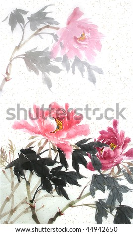 Medium Chinese drawn watercolor of a red peony flower