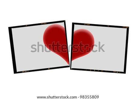 medium format film cut with heart, isolated on white