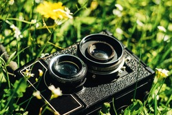 medium format film photo camera on green grass with flowers on sunny day