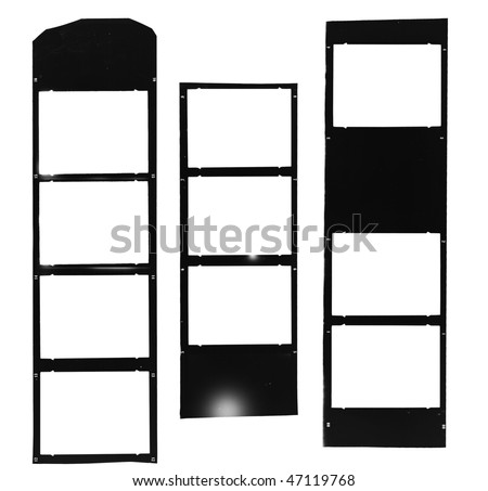 Medium format filmstrip,  picture frames, light incidence, picture frames,with free copy space,isolated on white background