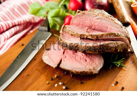Medium Rare Cooked Beef Roast with Vegetables and Spices