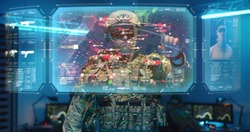 Medium shot of a soldier checking interactive holographic map