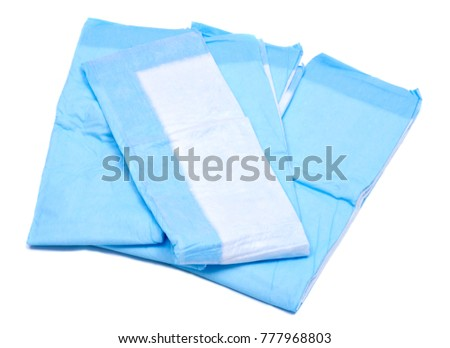 Medium size blue under pads for adults isolated on white background #777968803