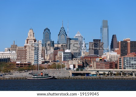 Medium view of Philadelphia cityscape and Penn's Landing