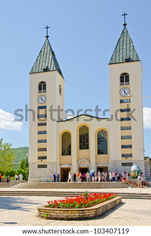 MEDJUGORJE, BOSNIA AND HERZEGOVINA - MAY 4: Unidentified pilgrims visits St. James Church on May 4, 2012 in Medjugorje, Bosnia and Herzegovina. Medjugorje is known for reported apparitions of Virgin Mary to local children.
