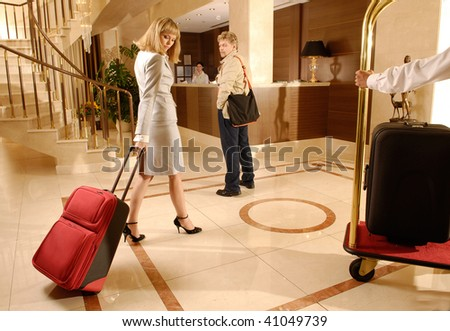 Meeting  at the hotel reception - stock photo
