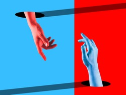 Meeting. Bright painted human hands touching by fingers. Contemporary art collage. Modern design work in vibrant trendy colors. Stylish and fashionable composition, youth culture. Copyspace.