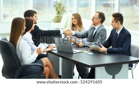 meeting business partners in a modern office #524291605