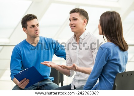 Meeting of support group, group discussion or therapy.