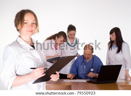 meeting of the doctors on a conference - stock photo