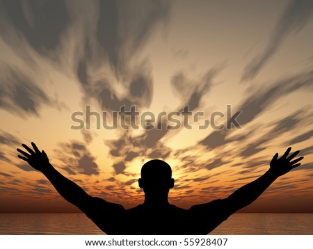Meeting of the sun. The man on with the hands lifted above, on a background of a sunset