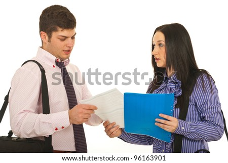 Meeting of two business people,business woman giving contract to her partner isolated on white background
