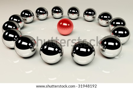 Meeting - red ball in the middle