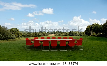 Meeting room in  a country field