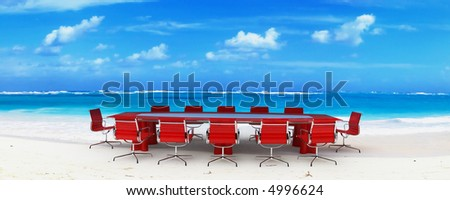 Meeting room in a tropical beach - stock photo