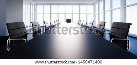 Meeting room in high-rise building with a view at the skyline - 3D illustration Foto stock ©