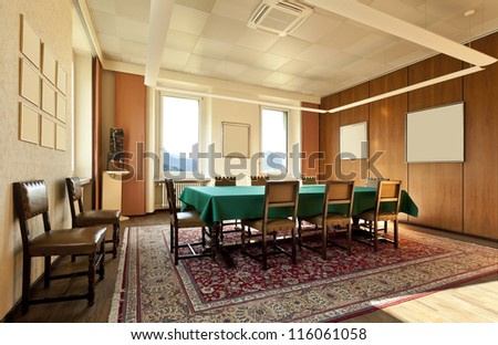 meeting room in the old house, green table