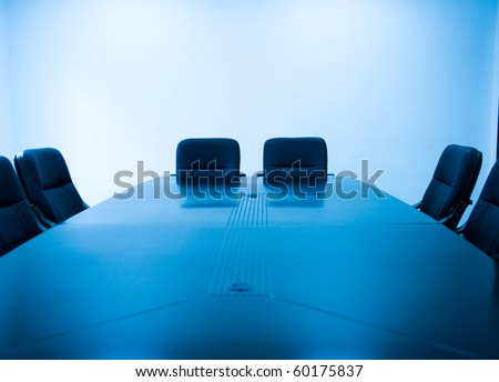 Meeting room with blue tint