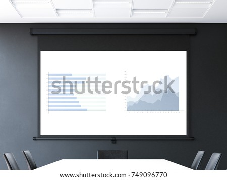 Meeting room with roll-up projector screen and charts. 3d rendering