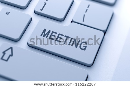 Meeting sign button on keyboard with soft focus