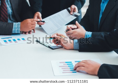 Meeting sign contract of business man group teamwork together working in conference room. #1123711181