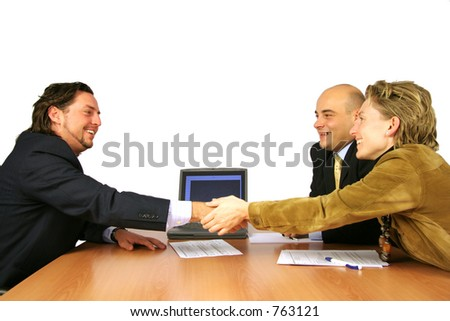 Meeting success hand shake isolated