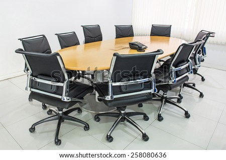 Meeting table and black hairs in meeting room, Conference table