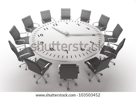 Meeting time - round table with a large clock face