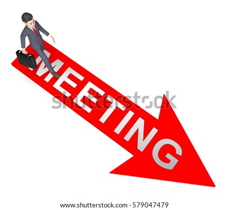 Meetings Character On Arrow Means Talk Discussion 3d Rendering
