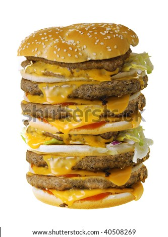 Mega cheeseburger isolated on white background