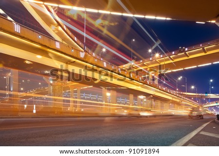 Mega city Highway at night with light trails in shanghai china.