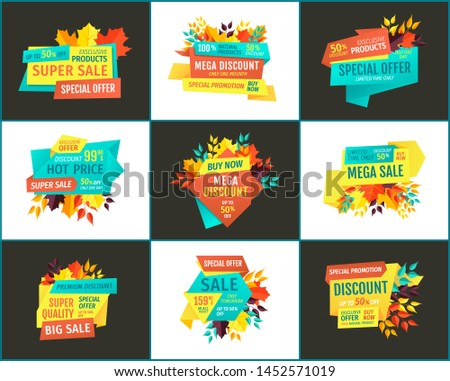 Mega discount, sale with hot price for best quality products banners, adverts or flyers for commerce. Good buy special offer for customers poster.