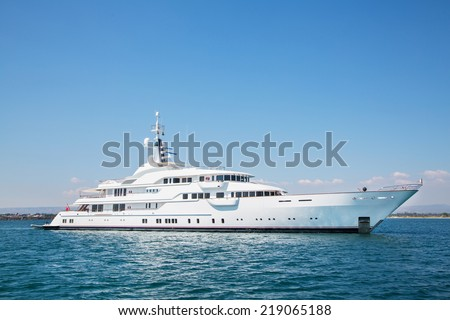 Mega motor yacht on the blue ocean.