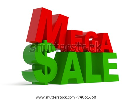 Mega sale - green and red text, isolated on white